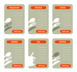 Blank calorie cards for main meals isolated