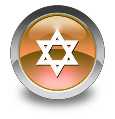 "Orange Glossy Pictogram ""Star Of David"""