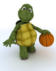 tortoise playing basket ball