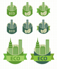 Eco labels city theme. Vector