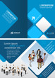 Blue template for brochure with business people