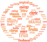 arancia, orange - tag cloud con spicchi