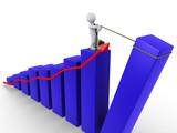 Businessman raising last bar of chart