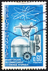 Postage stamp France 1965 Atomic Reactor and Diagram