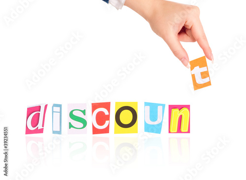 Hand and word discount isolated on white background