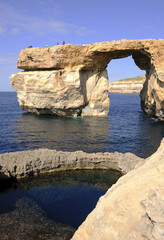 Limestone formation Azure window on Gozo, Malta