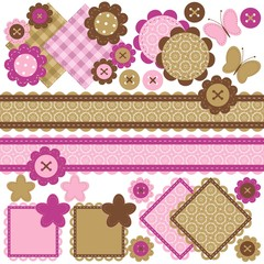 scrapbook objects with lace on white background