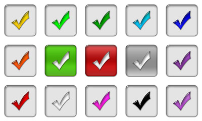 Check mark gel icons, buttons