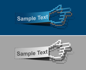 Hand cursor peel off vector web design element