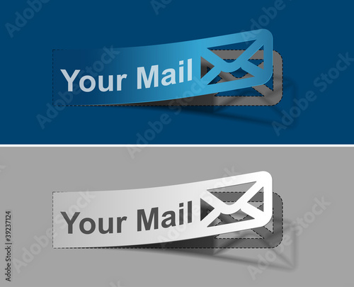 Your mail peel off vector web design element.