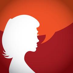 Silhouette of talking woman - illustration