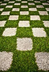 Green Zen garden. Chequered Grass. Background photo.