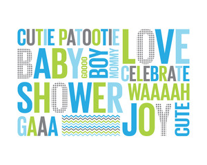A Tagcloud: baby shower for a boy