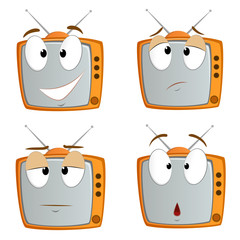 Set of cartoon tv emotional symbol