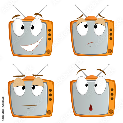 Set of cartoon tv emotional symbol