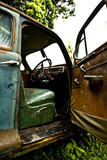 Grunge and hight rusty elements of old luxury car poster