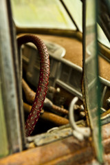 Grunge and hight rusty elements of old luxury car