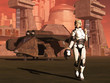 Futuristic female space pilot walks from her shuttle