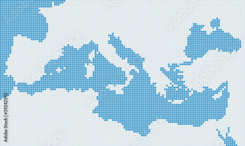Mediterranean sea gray pixel map
