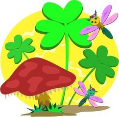 Saint Patrick's Clover and Mushroom
