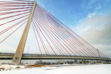 Hanging bridge over Motlawa river in Gdansk, Poland