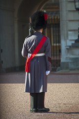Grenadier guard wearing winter greatcoat