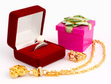 jewellery and gift box on white background