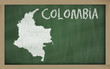outline map of colombia on blackboard