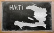 outline map of haiti on blackboard