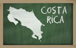 outline map of costa rica on blackboard