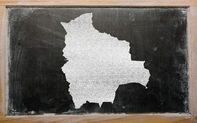 outline map of bolivia on blackboard