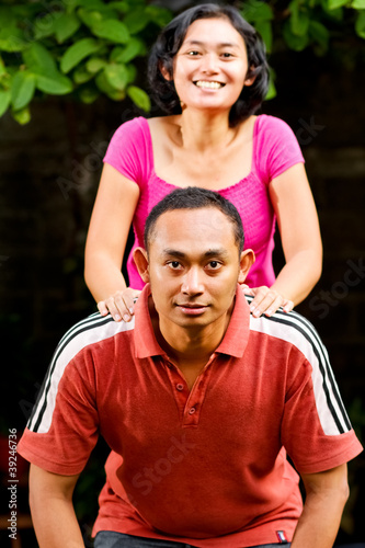 happy asian couple portrait
