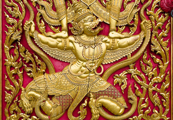 garuda wood carved gold paint