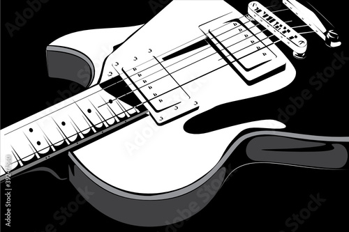 Vector series. Electric guitar black-white version
