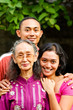 happy asian young man and woman love elederly mother