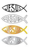 white, black, silver and gold christian fish