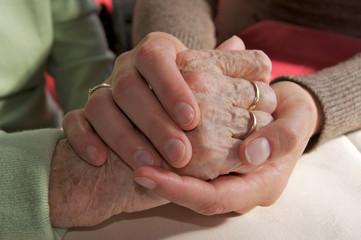 Hände trösten