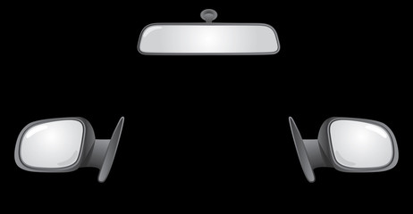 set of car rear back mirrors - illustration