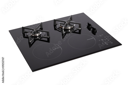 Black glass electric-gas hob with clipping path