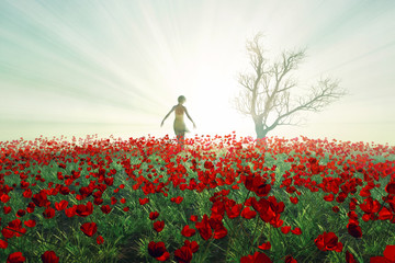 Woman on the poppy field
