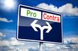Ortseingangsschild blau mit Pro und Contra