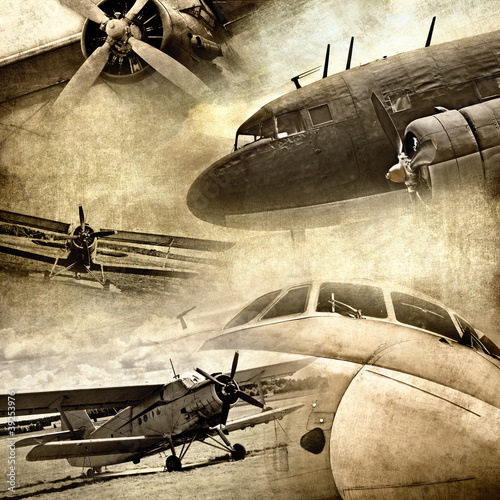 Fototapety, obrazy : Retro aviation, grunge background