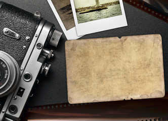 Old photo camera, retro frame with space for text
