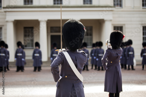 Grenadier guards wearing winter greatcoat