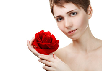 Portrait of young beautiful woman with red rose