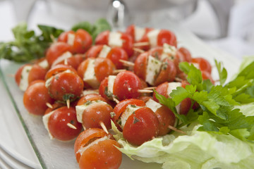 Cherry tomatoes stuffed with feta cheese