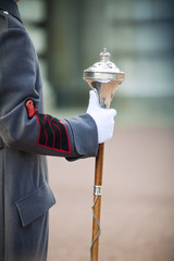 Royal bandmaster holding regiment staff