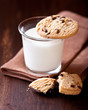 Glass of Milk and Chocolate Chip Cookie