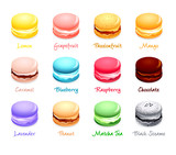 French macaron cookies with different flavors