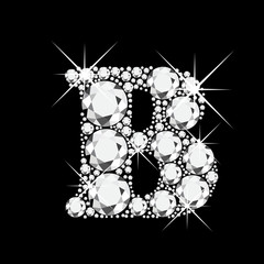 B letter with diamonds bling bling